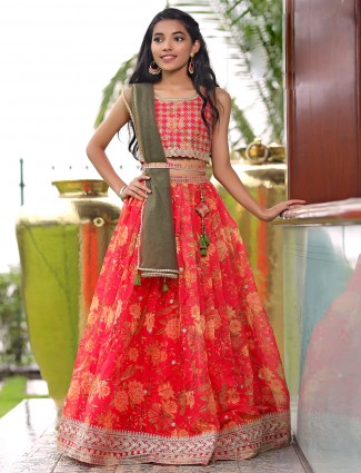 Carrot red printed lehenga choli with sequins work details