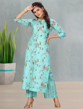 Casual wear aqua cotton punjabi style palazzo suit