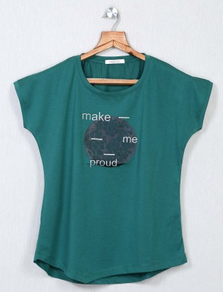 Casual wear green cotton top