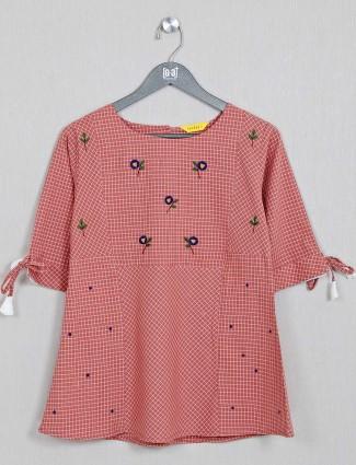 Casual wear peach top in cotton