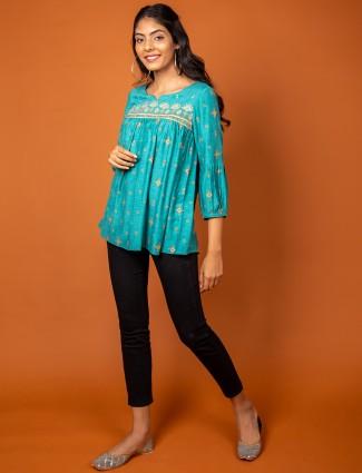 Casual wear printed kurti for women in aqua