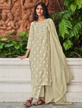 Casual wear printed punjabi beige cotton kurti set