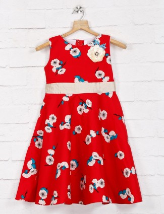 Casual wear printed red cotton frock