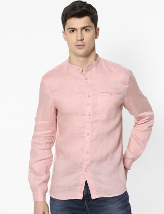 Celio pink solid chinese collar shirt