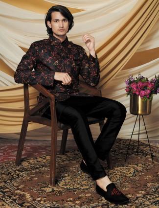 Charcoal grey silk waistcoat set for mens