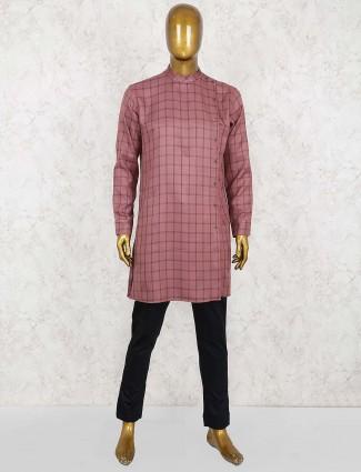 Checks pattern rose pink hue kurta suit