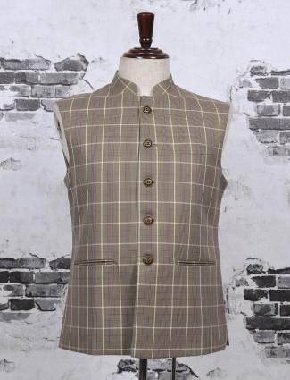 Checks pattern grey color waistcoat
