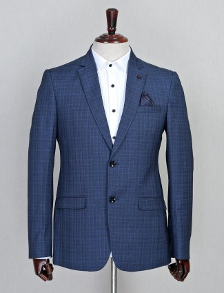Checks style blue two button terry rayon coat suit