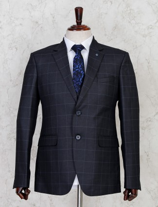 Checks style grey two button coat suit