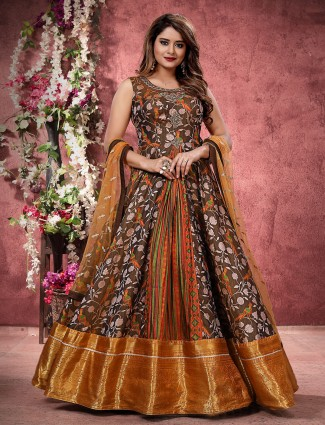 Chocolate brown floor length anarkali salwar suit in silk