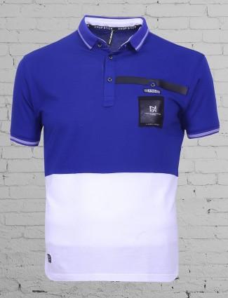 Chopstick white and blue plain cotton t-shirt
