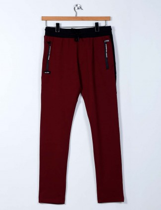 Chopstick cotton maroon solid track pant