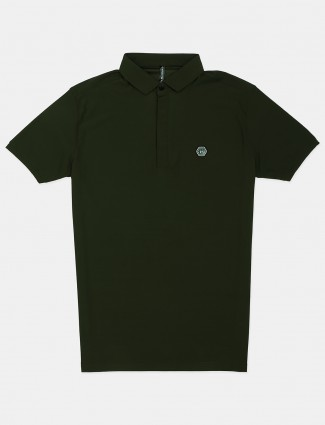 Chopstick half buttoned placket olive solid polo t-shirt