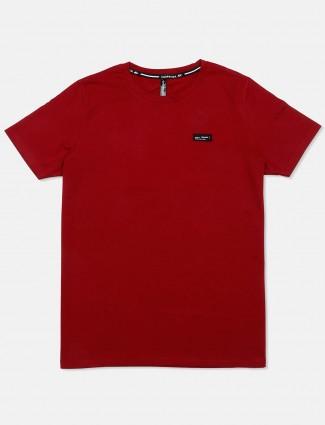 Chopstick maroon solid regular t-shirt