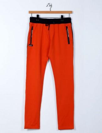 Chopstick presented orange cotton track pant