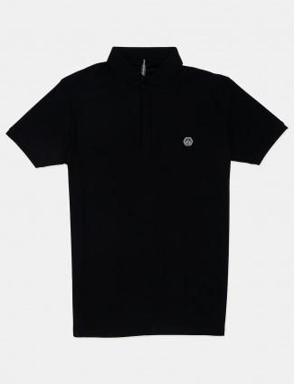Chopstick solid black polo neck t-shirt