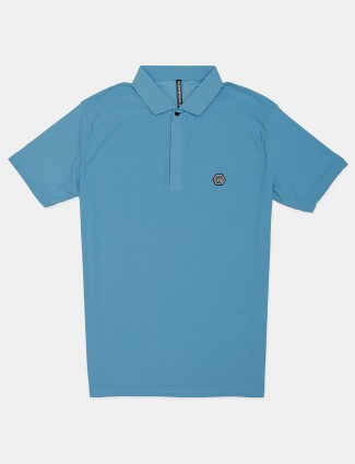 Chopstick solid blue casual cotton polo t-shirt