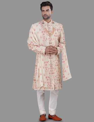 Classic beige pink silk sherwani