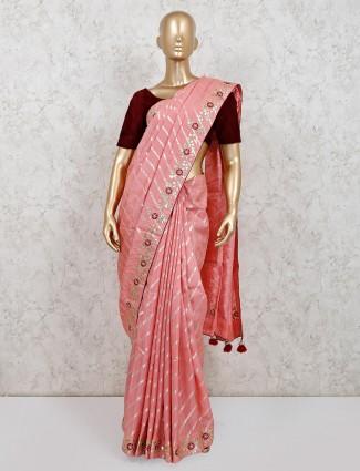 Classic festive wear pink dola silk