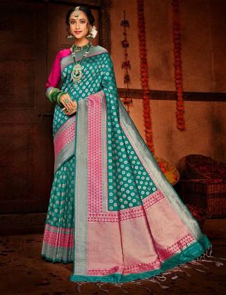 Classic teal green banarasi silk saree for wedding