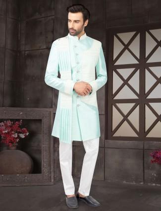 Classy aqua raw silk indo western