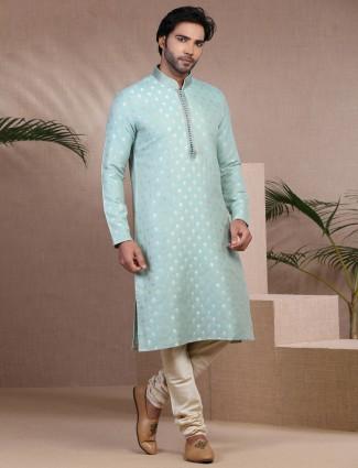 Classy aqua zari woven cotton silk kurta suit