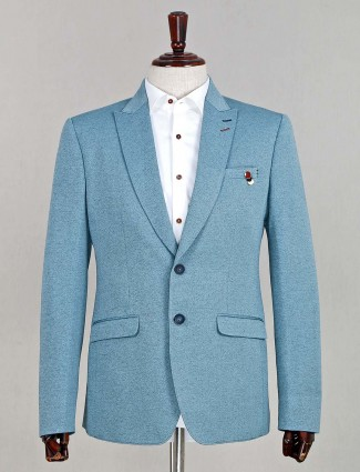 Classy blue terry rayon solid party wear blazer