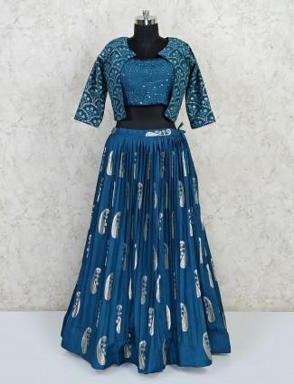 Classy blue wedding lehenga choli in georgette