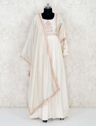 Classy cream cotton floor length anarkali suit