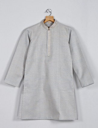 Classy grey cotton boys kurta suit