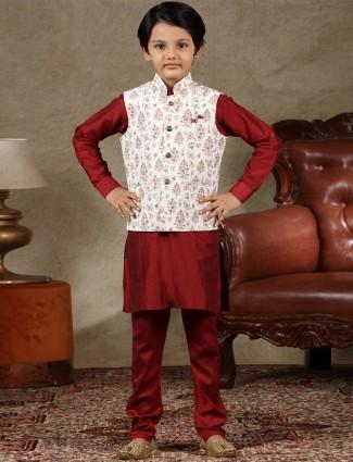 Classy white and maroon cotton waistcoat set for boys