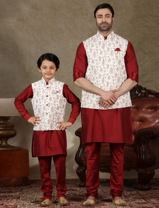 Classy white and maroon cotton waistcoat set for father and son