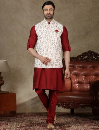 Classy white and maroon cotton waistcoat set for men