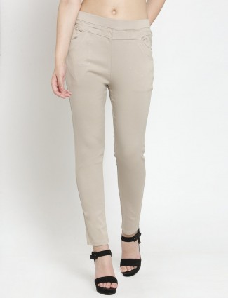Comfortable wear beige solid cotton jeggings