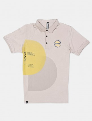 Cookyss beige mens printed polo t-shirt