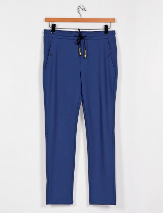 Cookyss blue cotton printed track pant