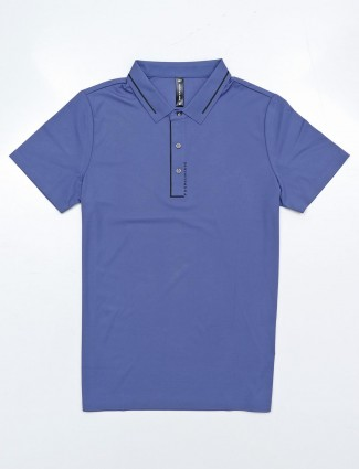 Cookyss blue solid half sleeves polo t-shirt