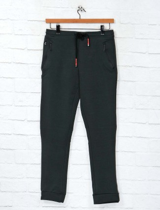 Cookyss dark green cotton night track pant