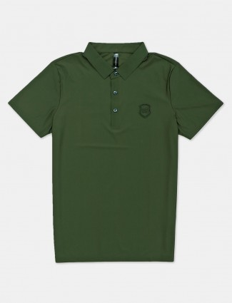Cookyss green solid cotton slim fit polo t-shirt