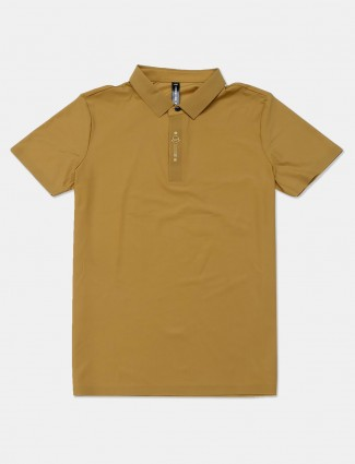 Cookyss khaki solid cotton slim fit polo t-shirt