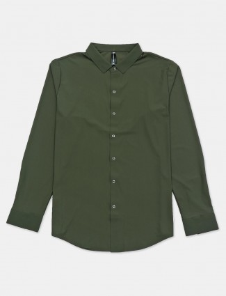 Cookyss olive cotton casual shirt for mens