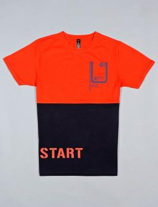 Cookyss orange printed cotton mens t-shirt