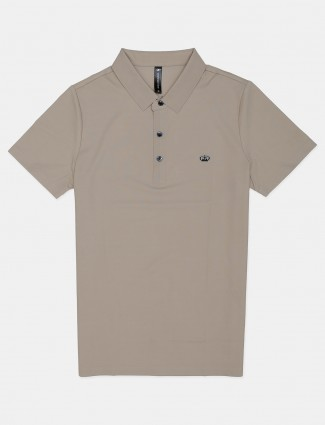 Cookyss solid beige half sleeve polo t-shirt