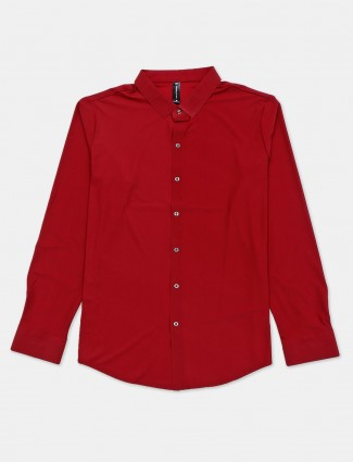 Cookyss solid maroon cotton mens shirt