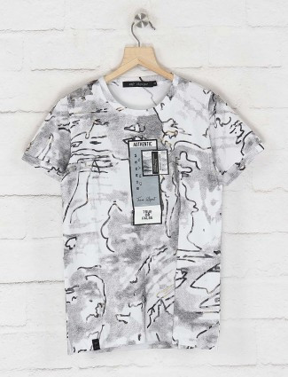 Cookyss white color printed slim fit t-shirt