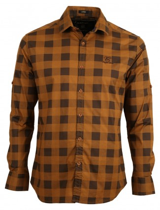 Copperstone cotton checks brown slim fit men shirt