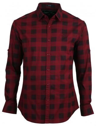 Copperstone maroon checks cotton men slim fit shirt