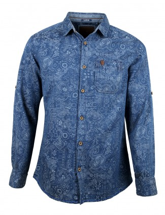 Copperstone men printed denim slim fit blue casual shirt