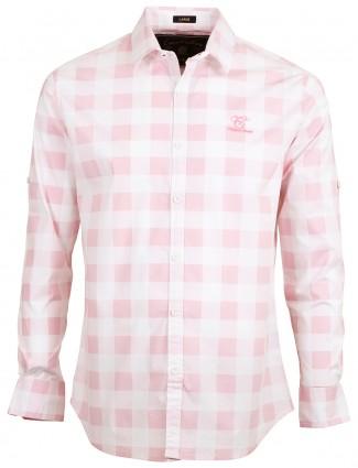 Copperstone pink checks cotton men slim fit shirt
