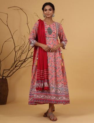 Coral pink anarkali style cotton festive wear kurti